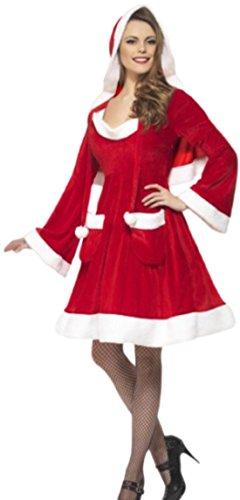 Karnevalsbud - Damen Miss Santa Kostüm Kleid mit Taschen und einem Cape, S, (Verkleiden Kostüm Mann Lebkuchen)