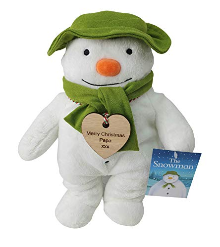 Personalised Engraved The Snowman Soft Toy with Vintage Engraved Wooden tag