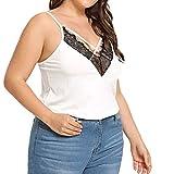 IZHH Mode Damen Plus Size Tops, Frauen Casual V-Ausschnitt Sleeveless Große Größe Spitze Einfarbig Camisole Tank Tops Weste Camis(Weiß,X-Large)