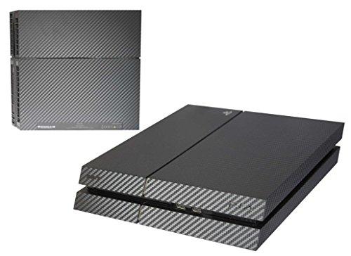 Aufkleber für PS4 3D Strukturfolie mit sichtbarer und fühlbarer Struktur, Sony Playstation 4 Aufkleber, Sticker, Simple-Sticker Designaufkleber für PS4 (Carbon / Karbon schwarz mit Unterseite)
