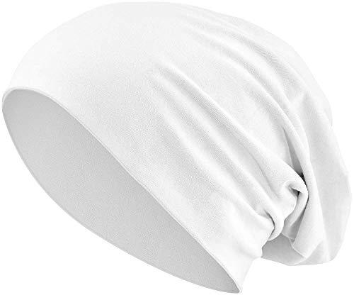 Jersey Baumwolle elastisches Long Slouch Beanie Unisex Mütze Heather in 35 (3) (White)