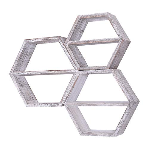 Comfify Estantes Flotantes Hexagonales Montados en Pared Rústicos Blancos - Juego de 3 - Grandes, Medianos...