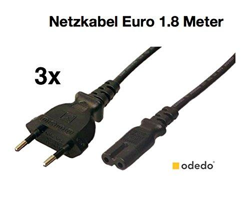odedo® 3er Set Netzkabel Euro Stecker -> Euro 8 Buchse schwarz 1,80 Meter