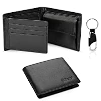 Wallets Mens RFID Blocking with Leather Key Holder,Trifold Slim Genuine Leather Men Wallet with Coin Pocket,Credit Card Slots,ID Window,Gift Box-Black