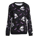 Mode Frauen Halloween Rundhalsausschnitt Langarm Terror Bat Skull Print Sweatshirt trägerlose Bluse Schuhe Flare Taille Sweater Stricken Pullover Mode Baumwolle Mantel Parka Dicker Outwear