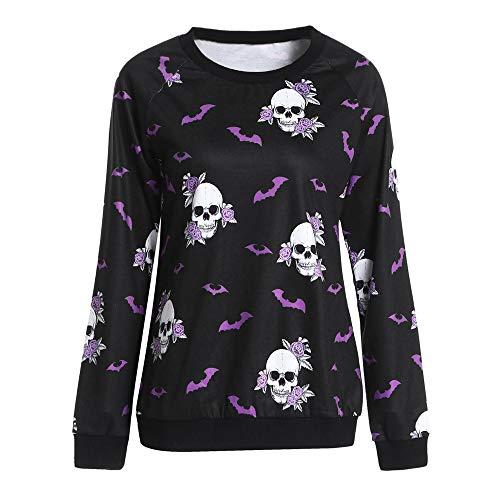 Mode Frauen Halloween Rundhalsausschnitt Langarm Terror Bat Skull Print Sweatshirt trägerlose Bluse Schuhe Flare Taille Sweater Stricken Pullover Mode Baumwolle Mantel Parka Dicker Outwear Skull Mantel