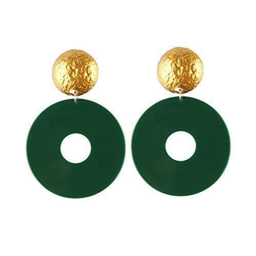 TIAN Herzförmige Runde Grüne Blatt Quaste Anhänger Ohrringe Weiblichen Geometrischen Schmuck -