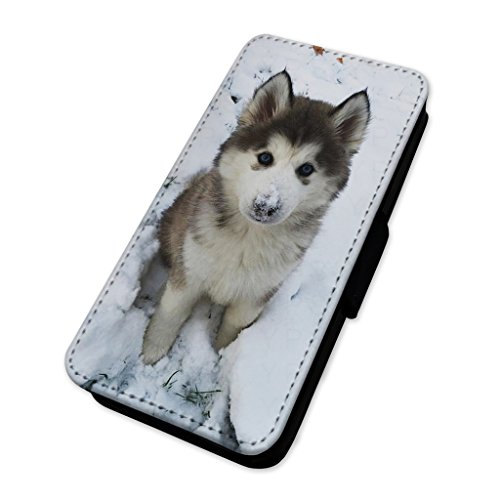 y Puppy Hund – Flip Case Wallet Cover Card Holder Apple iPhone 5C (Iphone 5c Wallet Case Husky)