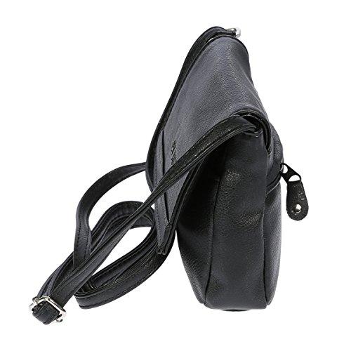 Christian Wippermann hochwertige kleine Damen Umhängetasche Schultertasche Tasche Schwarz Light Taupe