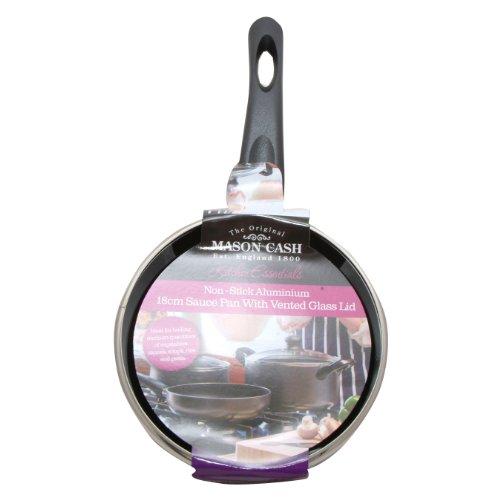 Mason Cash Essentials Non Stick 18cm Aluminium Saucepan with Lid, Black