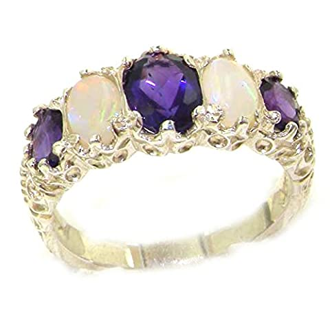 Luxury Ladies Victorian Style Solid Hallmarked Sterling Silver Amethyst & Opal Ring - Size Q 1/2 - Finger Sizes K to Z