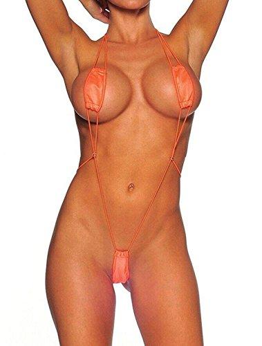 Creamlin Teeny Weeny Sling Shot Micro Mini Bikini Thong Einteiler Teddy (Orange) (Spezielle One-shot)