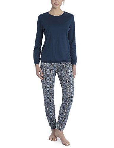 Calida Damen Noée Zweiteiliger Schlafanzug, Blau (Night Shadow 359), Medium -