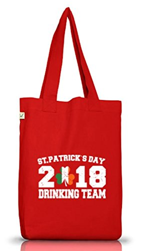 Irland St. Patrick's Day Jutebeutel Stoffbeutel Earth Positive St. Patrick Drinking Team 2018 Red