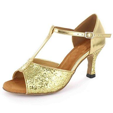 Scarpe da ballo-Personalizzabile-Da donna-Balli latino-americani-Tacco su misura-Finta pelle-Nero Rosso Dorato Gold