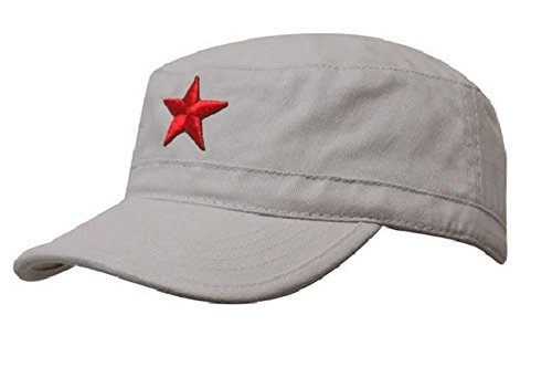 Vintage Fitted Cap (Damen Herren RUSSISCHE MILITÄRMÜTZE Roter Stern Fancy Dress Fidel Castro Vintage Military Mütze Cap (Stone Red Star))