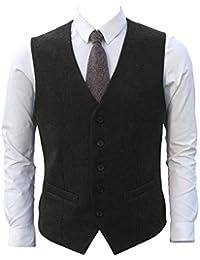 7fbf66af0171 Ruth Boaz 2Pockets 5Buttons Wool Herringbone Tweed Business Suit Waistcoat