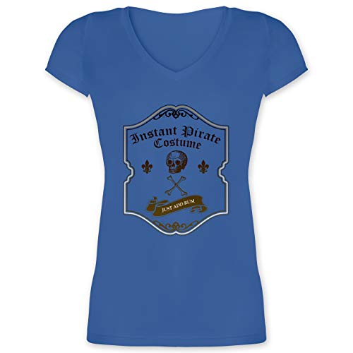 Piraten & Totenkopf - Instant Pirate Costume - Just add Rum - L - Blau - XO1525 - Damen T-Shirt mit V-Ausschnitt