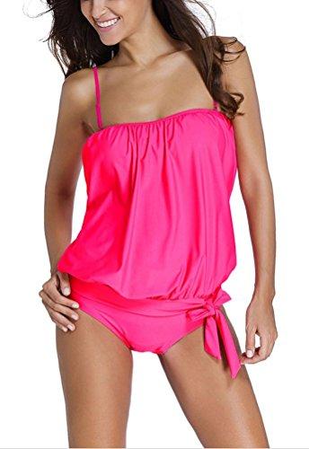 SunIfSnow Bikini Damen Tankini, Einfarbig Gr. X-Large, Deep Rose (Rosen Boyshort)