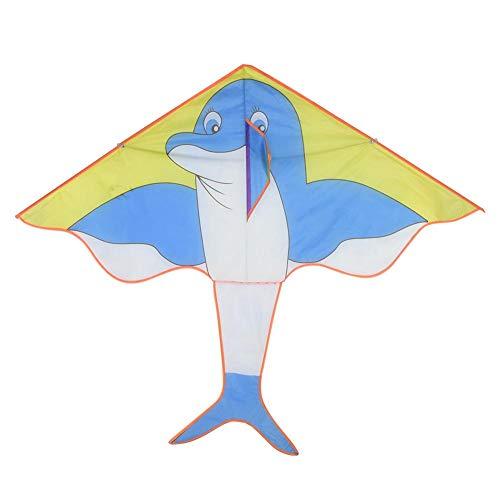 Alomejor Kinder Drachen Bunte Cartoon Dreieck Einleiner Drachen Easy Flyer Drachen für Kinder Outdoor Spiele Aktivitäten(Delphin)