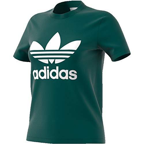 adidas Damen Trefoil Tee T-Shirt, Noble Green, 40 (T-shirt Damen Jersey Crewneck)