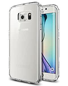 Galaxy S6 Edge Case, Spigen® [AIR CUSHION] Galaxy S6 Edge Case Bumper **NEW** [Ultra Hybrid] [Crystal Clear] - [1 Back Protector Included] Air Cushion Technology Corners + Bumper Case with Clear Back Panel for Galaxy S6 Edge (2015) - Crystal Clear (SGP11419)