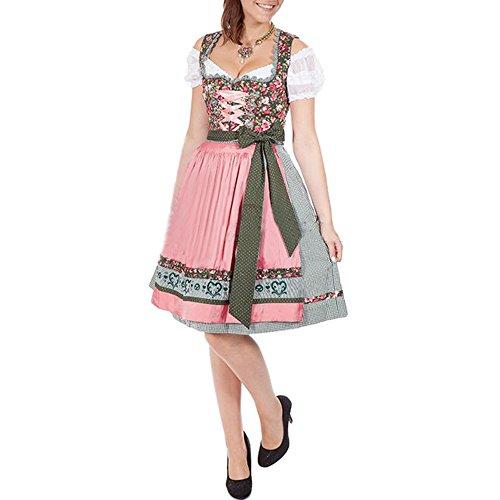 Pettigirl Damen Dirndl Set 3 Teile Weißes Trägerloses Spitzenkleid Schürze Anzug Oktoberfest Kostüme , Rosa , (Oktoberfest Deutsche Weiblich Kostüme)