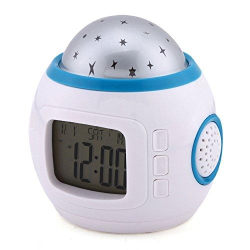 MONDAYNOON Despertador De Proyección De Estrella De Multicolor Con Luz Calendario Alarma Música Para...