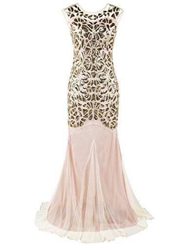 Kayamiya Damen Gatsby Kleid 1920er Perlen Pailletten Maxi Lange Charleston Meerjungfrau Abendkleid...