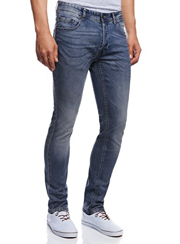 oodji Ultra Uomo Jeans Basic Slim, Blu, 31W/34L (IT 44 / EU 31 / M)