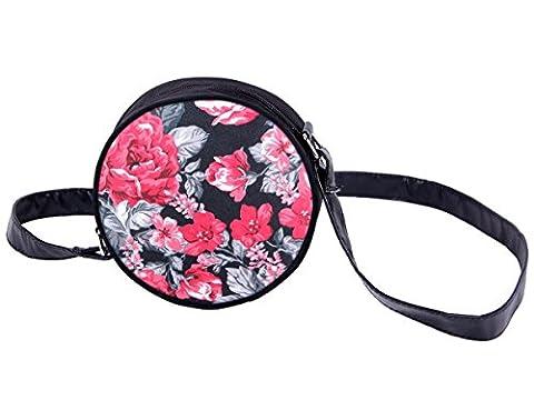 Sac rond à bandoulière sacoche besace enfant fille et garçon Fermeture-éclair zippée dessus Design sympa Convenable aussi comme accessoire sac à main pour adultes, choisir:HT-016 Roses