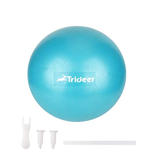 Trideer Mini Pilates Ball Aufblasen Röhrchens, Für Fitness, Reha, Rückentraining und Coordination (Türkis, 23cm)