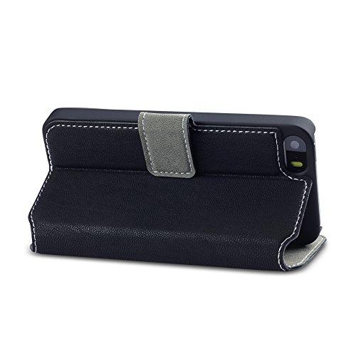 Coque Cuir iPhone SE, Terrapin Étui Housse en Cuir Ultra-mince Avec La Fonction Stand pour iPhone SE Case - Gris Noir