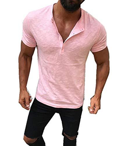 Cyiozlir Herren T-Shirt Kurzarm Shirt Rundhals Henley Hemd Knopfleiste Einfarbig Tops (Pink, Large)