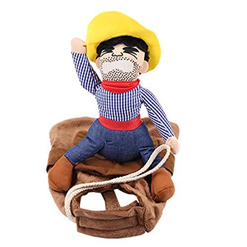 Kostüm Hunde Lustige - NIBESSER Hund Kostüm Lustige Cowboy Reiter Kleidung Hunde Outfit Ritter Stil Kleidung mit Puppe und Hut für Halloween Cosplay Party
