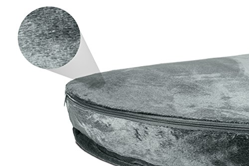 Furhaven Pet Dog Bed   Cooling Gel Memory Foam Orthopedic Round Microvelvet Snuggery Pet Bed for Dogs & Cats, Gray, 26… 2