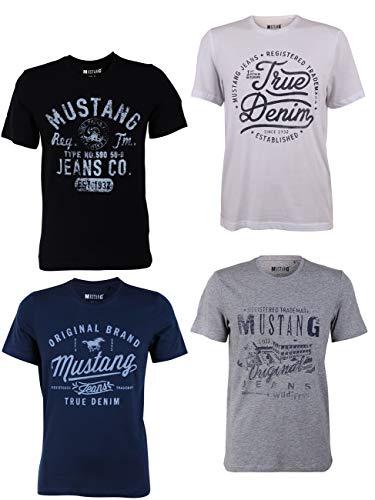MUSTANG 4er Pack Herren T-Shirt mit Frontprint und Rundhalsausschnitt - Motivmix, Größe:S, Farbe:Farbmix (P10)