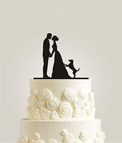 Hochzeits-Tortenaufsatz, Silhouette mit küssendem Brautpaar und Hund