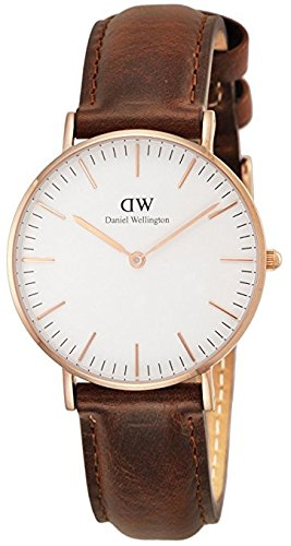 Daniel Wellington Damen-Armbanduhr Analog Quarz One Size, weiß, braun