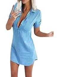 HaiDean Donna Camicia Vestito Manica Corta Solido Slinky Corta Con Tasca  Chemisier Moda Giovane Semplice Glamorous Eleganti Estate… ace35f7f1ed
