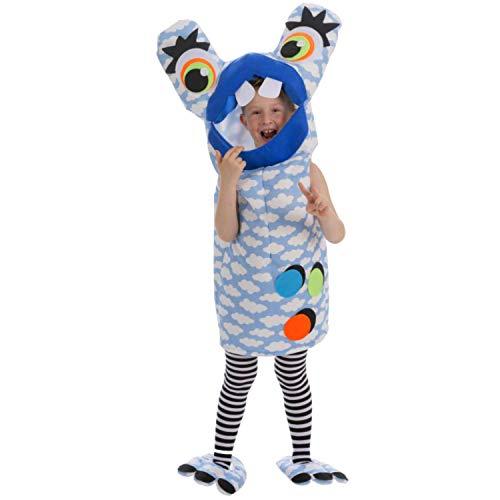 Kostüm Monster Glubschauge blau oder rot OneSize Fasching Karneval Spasskostüm (blau) ()