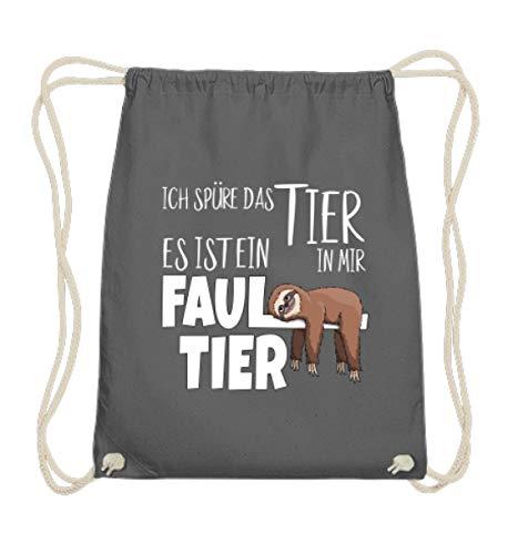 Shirtee Süßes Comic Faultier | Ich spüre das Tier in mir | Für Faulpelze und Schlafmützen - Baumwoll Gymsac -37cm-46cm-Grafit Grau