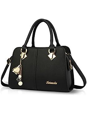 NICOLE&DORIS Damen Handtaschen Einfach Umhängetasche Schultertaschen Henkeltaschen Crossbody Tote Wasserdicht PU