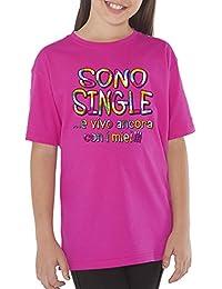 Fermento Italia T-Shirt Bambino Divertente Sono Single.E Vivo Ancora con I  Miei 002a5c1f447a