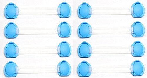 Caratcube 8 Pcs Blue Baby Child Infant Kids Safety Latch Lock for Drawer Kitchen Cupboard Machine Refrigerator Fridge Cabinet (CTC - SP - 6)