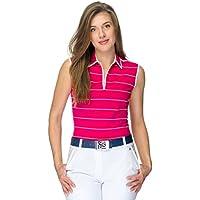 Niki sin mangas mujer Golf Camiseta a rayas., 100% Pima de algodón jersey, mujer, raspberry