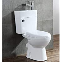 2in1 Space Saving Cloakroom Combi Duo Toilet with Cistern Sink Basin & Tap