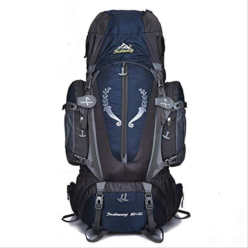 Zaini WEN FENG Borsa All'aperto 85l Camping Zaino Da Trekking Grande Nylon Frame Bag Impermeabile Uomini Sport Borse Arrampicata Viaggio Grande Capacità Rucksacks 85x38x25 cm Blu scuro