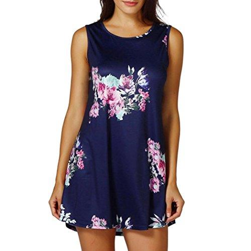 VEMOW Muttertag Geschenk Sommer Damen Damen Casual Blumendruck Sleeveless Weste Shirt Tank Bluse Tunika Tops Tees Pullover(Marine, EU-44/CN-L)