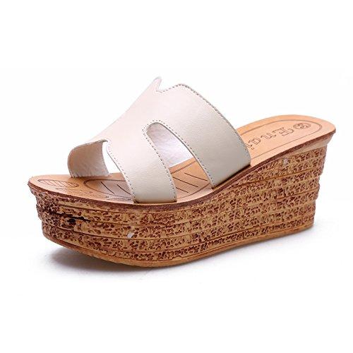 ZYUSHIZ Frau Wild coole Hausschuhe Dick die Philippinen mit wasserdichten Desktop Hausschuhe Sandalen High-Heel weitergeleitet Beige